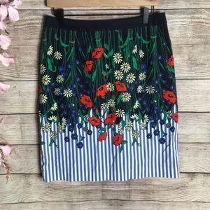Anthropologie Postmark Navy Floral Pencil Skirt